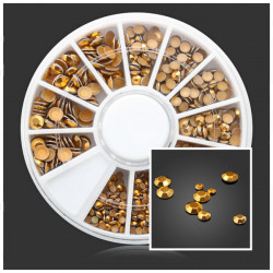 Square Round Gold Rivet Metal DIY Nail Art Decoration Wheel
