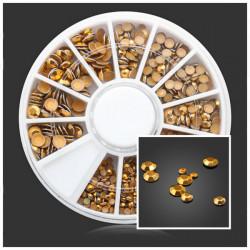 Square Round Gold Rivet Metal DIY Nail Art Decoration Wheel