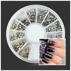 Square Round Metal Color DIY Nail Art Decoration Wheel