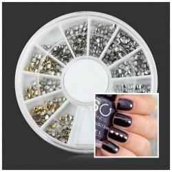 Square Round Metal Color DIY Nail Art Decoration Wheel