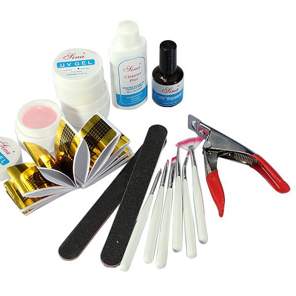 UV Acrylic Gel Topcoat Cleanser Brush Nail Art Start Basic Kit Set Nail Art