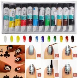 WINSOR NEWTON 3D 12 Colors Acrylic Nail Art Paint Paiting Set