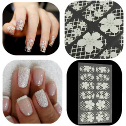 White Lace Flower Nail Art Decal 3D Stickers Transparent