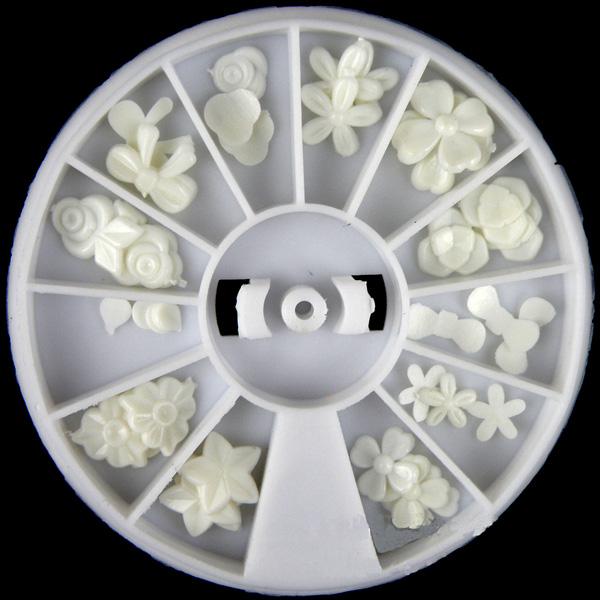 White Resin Flower Bowknot Nail Decoration Wheel Nail Art