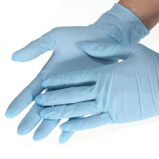 100pcs Blue Nitrile Disposable Gloves Stretchy Non-latex 2021