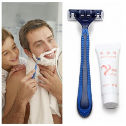 1Pcs Portable Disposable Manual Razor Shaver With Shaving Cream
