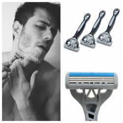 3Pcs 3 Edges Classic Men Safety Manual Razor Shaver