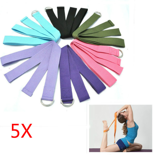 5Pcs Yoga Stretch Strap D-Ring Belt Stretching Band Personal Care