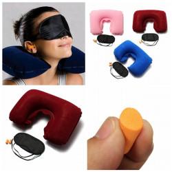 Inflatable Travel Sleeping Set U Air Cushion Pillow Earplug Eye Mask
