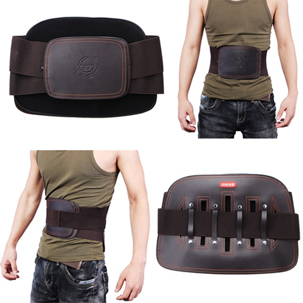 JIAHE Leather Lumbar Back Support Belt Spine Correction Brace Personal Care