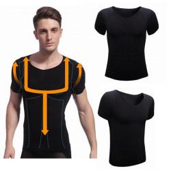 Men's Slim Short-sleeved Body Shaper Shapewear Taping Inner T-shirt
