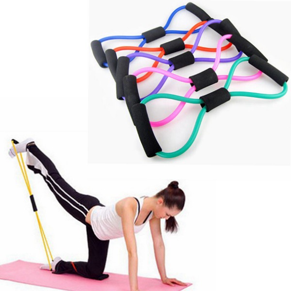 Yoga 8 Type Resistance Band Tube Body Building Fitness Exercise Tool Personal Care