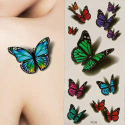 3D Butterfly Flying Design Temporary Tattoo Sticker Decal
