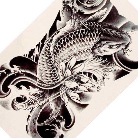 3D Carp Flower Design Waterproof Removable Temporary Tattoo Sticker 2021