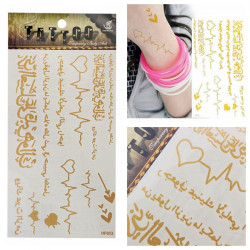 Arabic Gold Metallic Temporary Tattoos Body Art Sticker