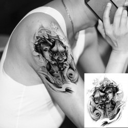 Body Graphics Tattoo Waterproof Temporary Devil Arm Tattoo Sticker