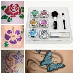 Diamond Glitter Painted Temporary Tattoo Stencils Kit for Body Art