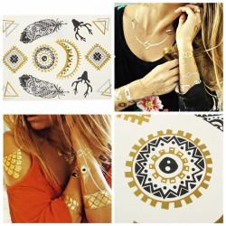 Gold Feather Moon Sun Metallic Temporary Tattoos