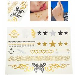 Gold Metallic Butterfly Star Temporary Tattoos Body Art Sticker