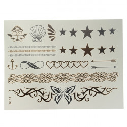 Gold Silver Metallic Star Butterfly Chain Temporary Tattoo Sticker