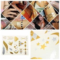Gold Silver Metallic Temporary Tattoos Body Art Sticker
