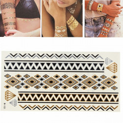 Gold Silver Metallic Temporary Tattoos Body Art Sticker