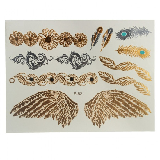Gold Silver Metallic Wing Feather Chain Temporary Tattoo Sticker 2021