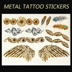 Gold Silver Metallic Wing Feather Chain Temporary Tattoo Sticker