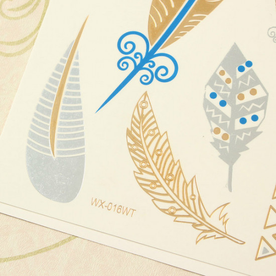 Golden Silver Bling Metallic Body Art Temporary Tattoo Sticker 2021