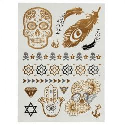 Golden Silver Skeleton Metallic Body Art Temporary Tattoo Sticker
