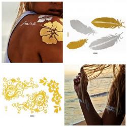 Metallic Temporary Gold Chain Feather Flower Tattoo Sticker