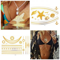 Metallic Temporary Necklace Chain Ship Anchor Ocean Tattoo Sticker