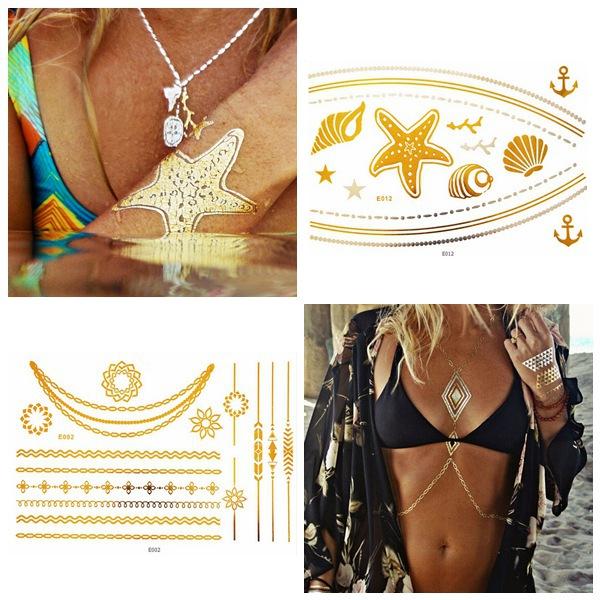 Metallic Temporary Necklace Chain Ship Anchor Ocean Tattoo Sticker Tattoos & Body Art