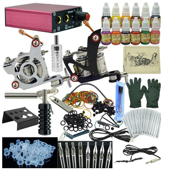 OPHIR Complete Tattoo Kit 2 Gun Machine 12 Colors Power Supply Tattoos & Body Art