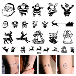 Temporary Christmas Tattoo Transfer Body Art Sticker Waterproof