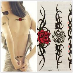 Waterproof Sexy Women Rose Totem Temporary Tattoo Sticker Body Art