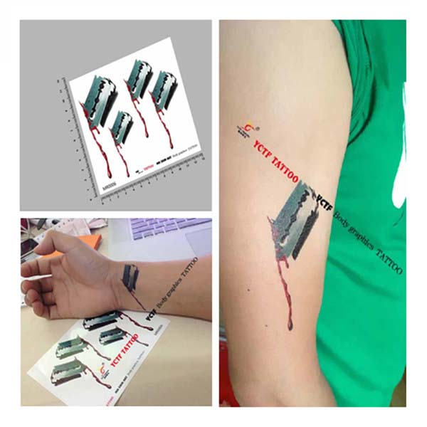 YCTF Temporary Blood Blade Tattoo Transfer Waterproof Tattoo Stickers Tattoos & Body Art