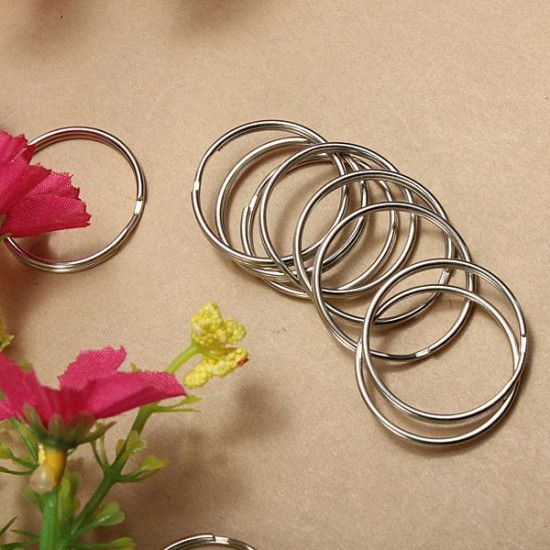 100Pcs 25mm Metal Split Rings Nickel Steel Hoop Keyrings 2021