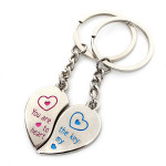 1 Pair Love Heart Couple Stainless Steel Key Ring Chains Lover Gifts Keychain
