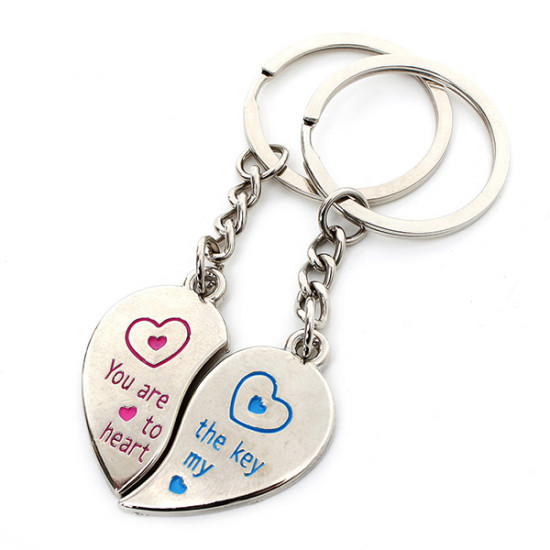 1 Pair Love Heart Couple Stainless Steel Key Ring Chains Lover Gifts 2021