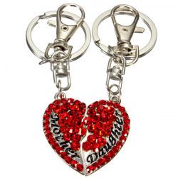 1 Pair Rhinestone Mother and Daughter Heart Keychain Key Ring