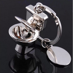 3D Toilet Model Keyring Zinc Alloy Key Chain Jewelry Gift
