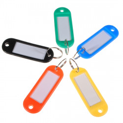 50pcs Mixed Color Plastic Keychain Split Ring Luggage Label Card