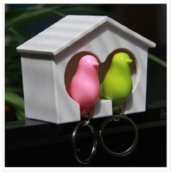 Birdhouse Whistle Couple Bird Sparrow Nest Keychain Holder Wall Hook