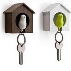 Birdhouse Whistle Plastic Bird Sparrow Nest Keychain Holder Wall Hook