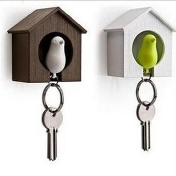 Birdhouse Whistle Plastic Bird Sparrow Nest Keychain Holder Wall Hook Keychain