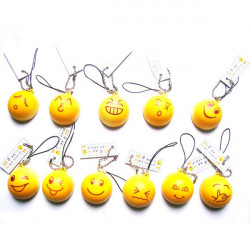 Bread Shape QQ Expression Key Chain Smile Face Phone Pendant Accessory