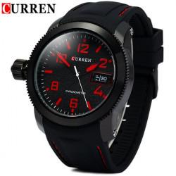 CURREN 8173 Blue Black White Silicone Waterproof Analog Watch