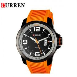 CURREN 8174 Blue Black Orange Silicone Waterproof Quqrtz Watch