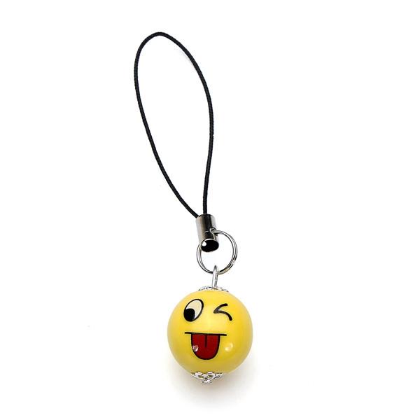 Ceramics QQ Expression Key Chain Smile Face Phone Pendant Accessory Keychain